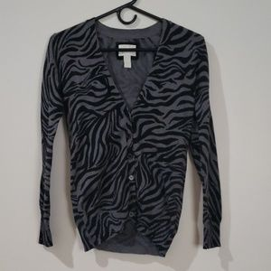 Forever 21 Zebra Print Button-Up Cardigan S